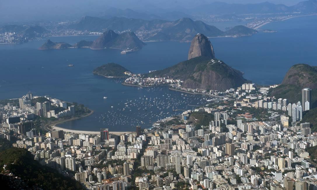 Imagem aérea do Rio de Janeiro, a cidade sede dos Jogos Olímpicos YASUYOSHI CHIBA / AFP