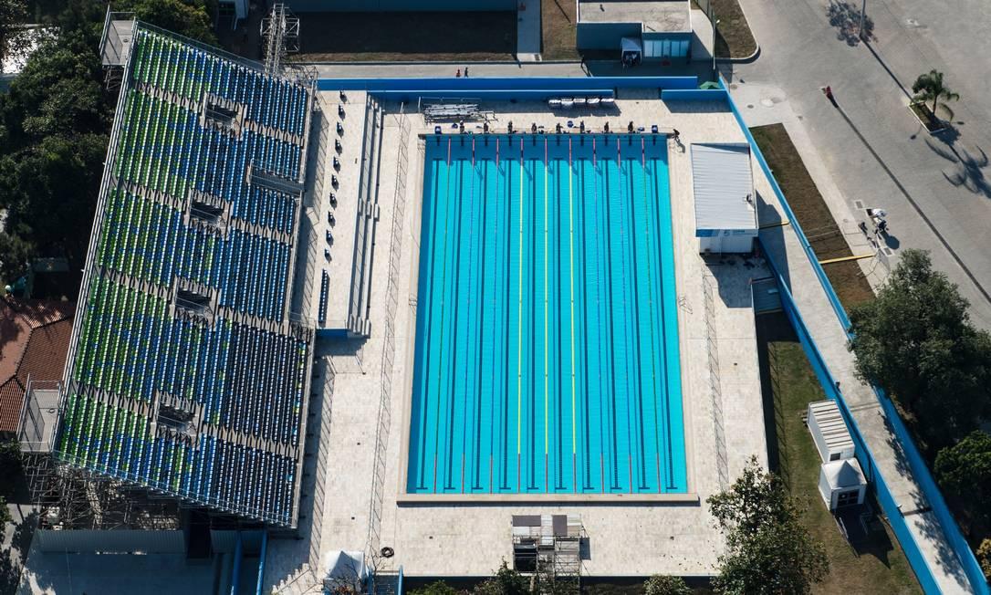 O centro aquático de Deodoro, onde acontece uma das provas do pentatlo moderno YASUYOSHI CHIBA / AFP