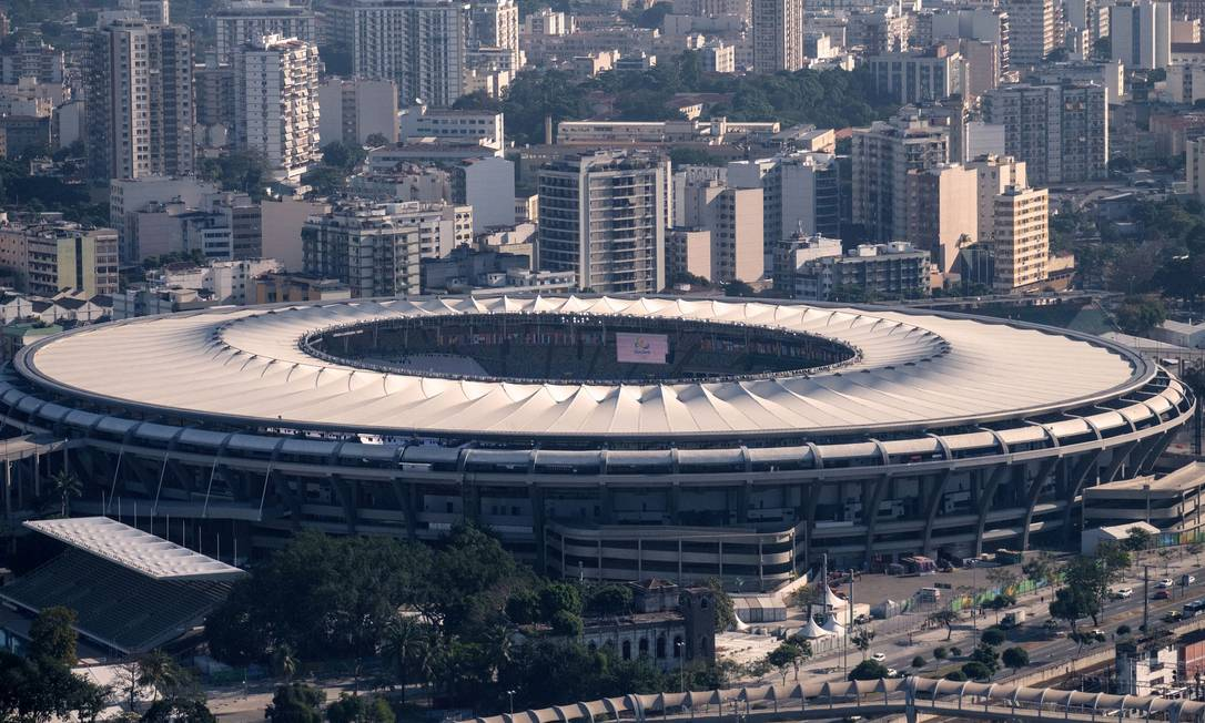 O Maracanã, palco da cerimônia de abertura da Olimpíada e das finais do futebol YASUYOSHI CHIBA / AFP