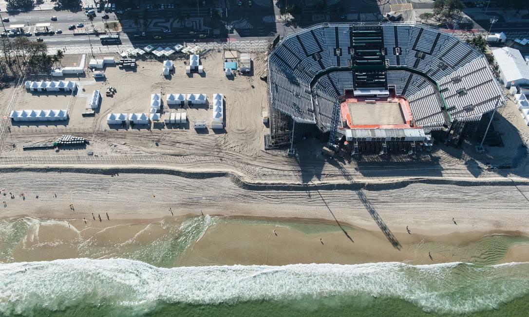 A arena de vôlei de praia em detalhe YASUYOSHI CHIBA / AFP