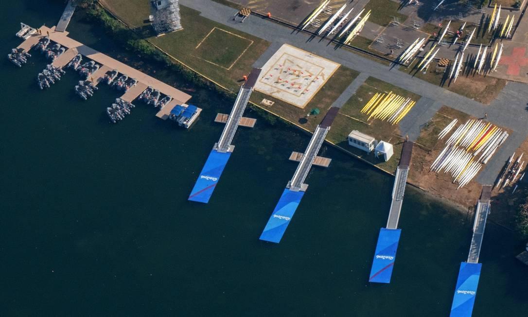 A área de competição da Lagoa, onde acontecerão as provas de remo YASUYOSHI CHIBA / AFP