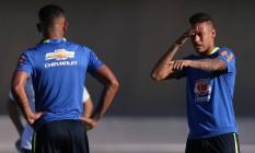 Neymar durante o treino da seleção olímpica em Goiânia, na véspera do amistoso contra o Japão Foto: UESLEI MARCELINO / REUTERS