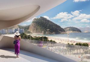 A beleza da Orla de Copacabana invade cada terraço do Casa Atlântica Foto: Divulgação