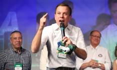 João Doria discursa em convenção do PSDB que confirmou sua candidatura à prefeitura de São Paulo no domingo passado Foto: Marcos Alves / Agência O Globo