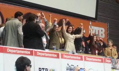 Convenção do PTB realizada em SP: partido oficializa apoio a Russomanno Foto: Agência O Globo / Tiago Dantas