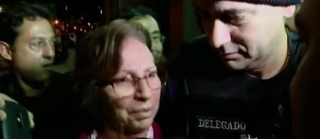 Aparecida chegou à delegacia em SP na noite de domingo para prestar depoimento Foto: Reprodução/TV Globo