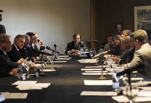 Líderes cobram data para votar processo de Cunha no plenário da Câmara, em reunião compresidente da Casa Foto: Givaldo Barbosa / Agência O Globo