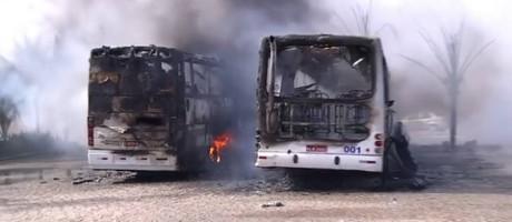 Ônibus incendidados no Rio Grande do Norte Foto: Reprodução / TV Globo