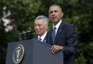 Barack Obama fez a declaração em entrevista coletiva ao lado do primeiro-ministro de Cingapura, Lee Hsien Loong, na Casa Branca Foto: Manuel Balce Ceneta / AP