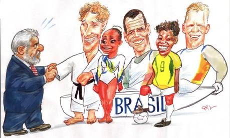 """No Planalto. Lula agradece o resultado a Flávio Canto, Daiane dos Santos, Pretinha, Torben Grael e Marcelo Ferreira: """"A pátria, penhorada, agradece...mas vocês sabem que não fui eu que penhorei, já peguei assim"""" Foto: Chico Caruso 30/08/2004 / Agência O GLOBO"""