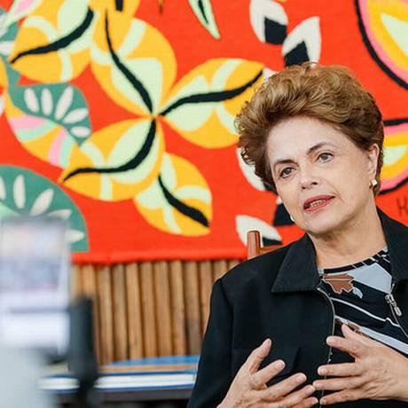 A presidente afastada Dilma Rousseff durante entrevista Foto: Divulgação / Roberto Stuckert Filho/PR