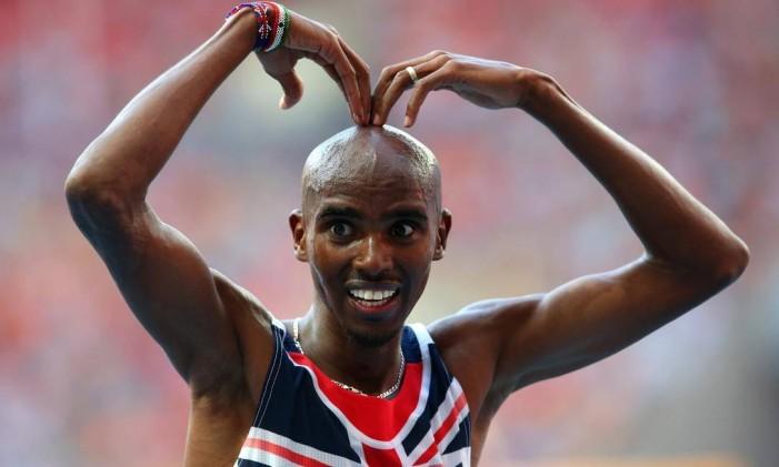 Mo Farah, campeão olímpico dos 5000m e dos 10000m no atletismo Foto: Arquivo / Extra