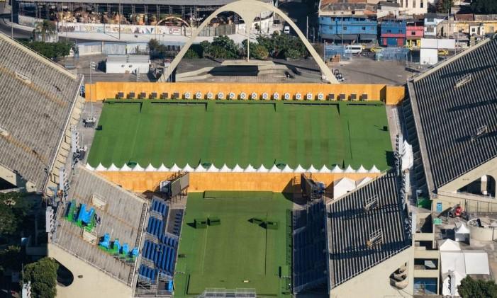 Sambódromo, local de largada e chegada da maratona na Olimpíada do Rio Foto: YASUYOSHI CHIBA / AFP