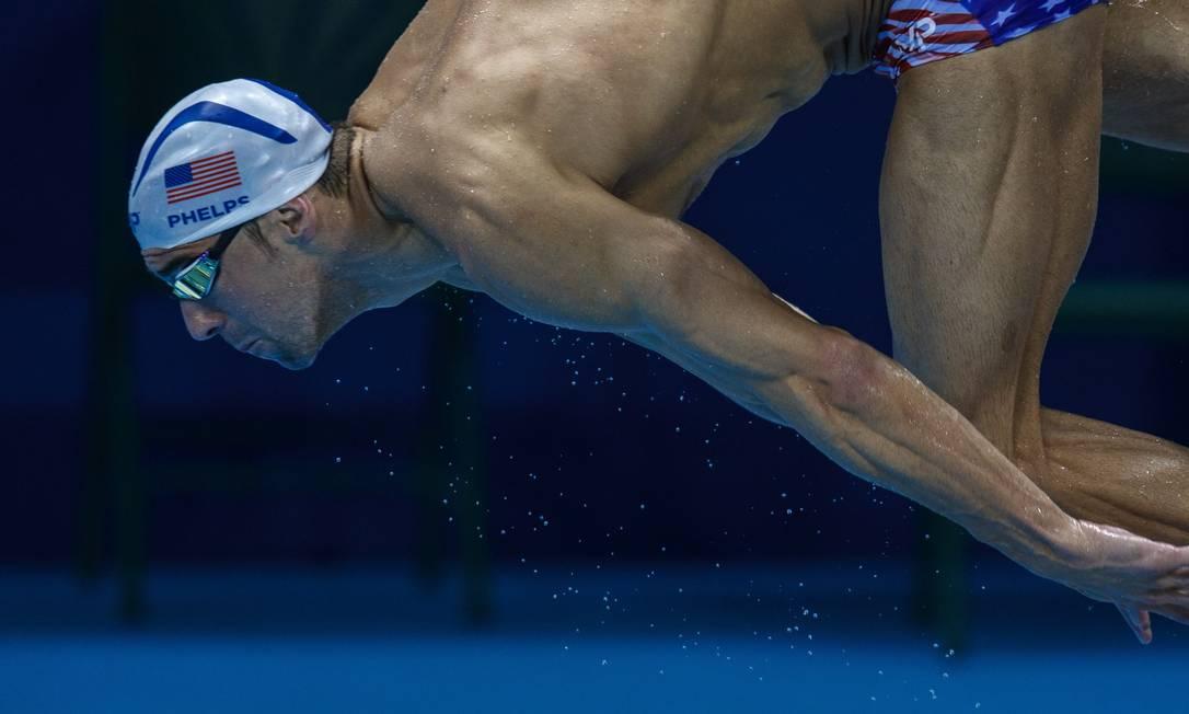 Michael Phelps treina pela primeira vez no estádio aquático Daniel Marenco / Agência O Globo