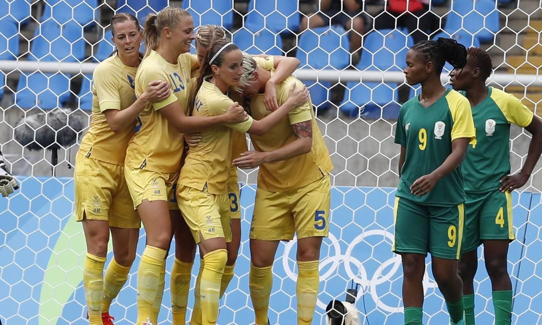 Suécia e África do Sul deram início ao futebol da Olimpíada: 1 a 0 para as suecas ANTONIO SCORZA / Agência O Globo
