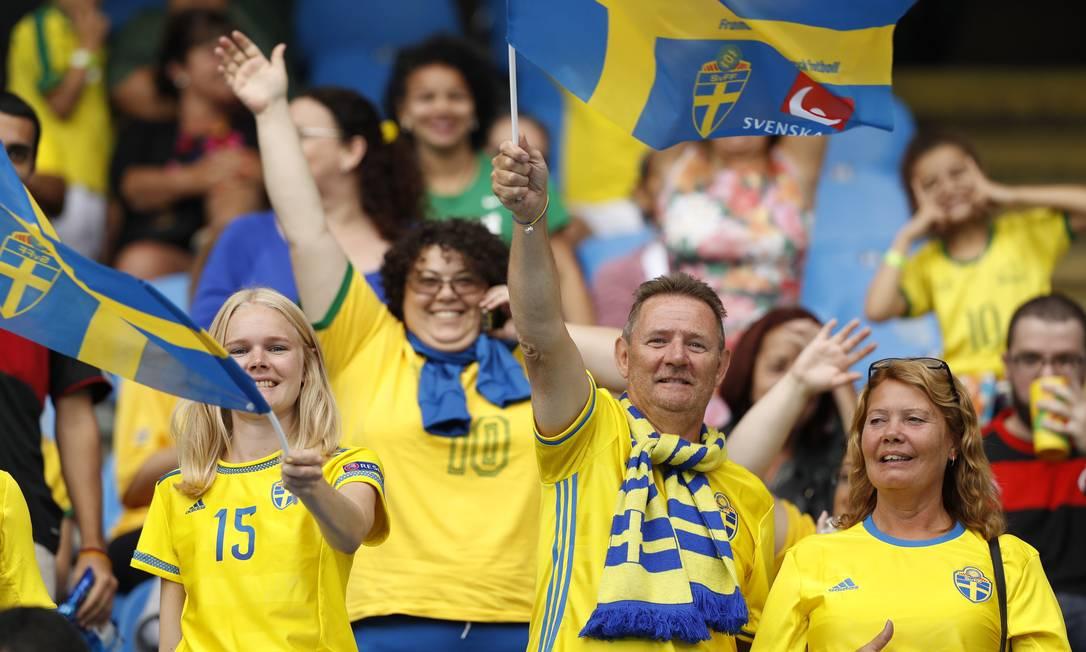 Ao final do jogo, a torcida sueca comemorou a vitória ANTONIO SCORZA / Agência O Globo