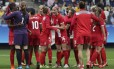 Estreia com triunfo. Canadenses celebram vitória sobre a Austrália no Itaquerão
