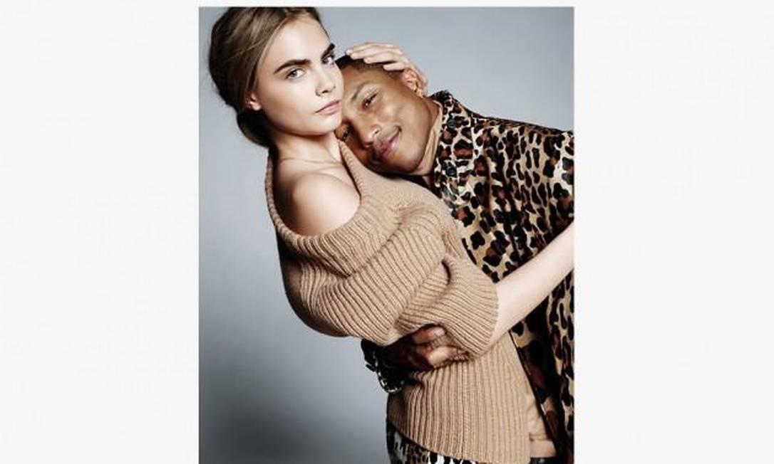 Cara Delevingne e Pharrell Williams para Vogue UK setembro de 2013 Divulgação