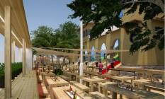 Áustria construiu uma cervejaria ao ar livre na Mansão Botafogo Foto: Divulgação