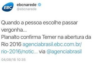 Texto publica no perfil do Twitter da EBC Foto: Reprodução