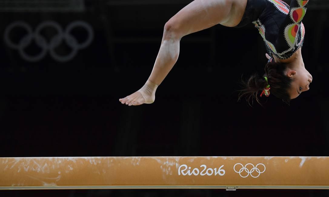 Do Panamá Isabella Amado pratica no feixe de equilíbrio da ginástica artística BEN STANSALL / AFP