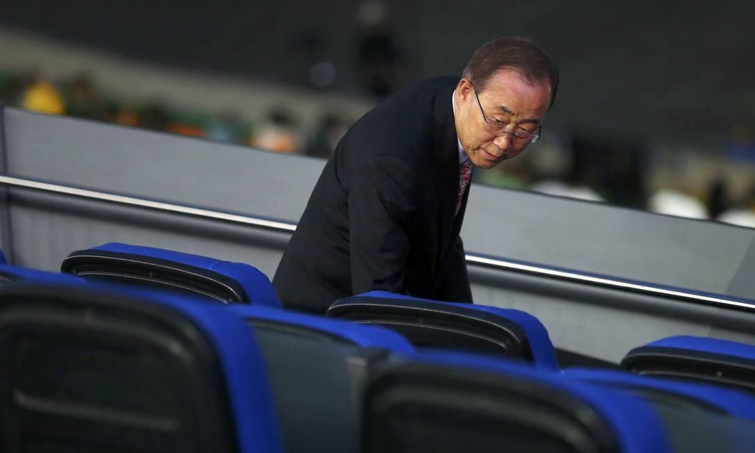 Secretário-geral da ONU, Ban Ki-Moon toma seu lugar no Maracanã ANTONIO BRONIC / REUTERS
