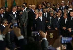 O presidente interino Michel Temer durante cerimônia de posse de novos ministros Foto: Marcello Casal Jr / Agência Brasil