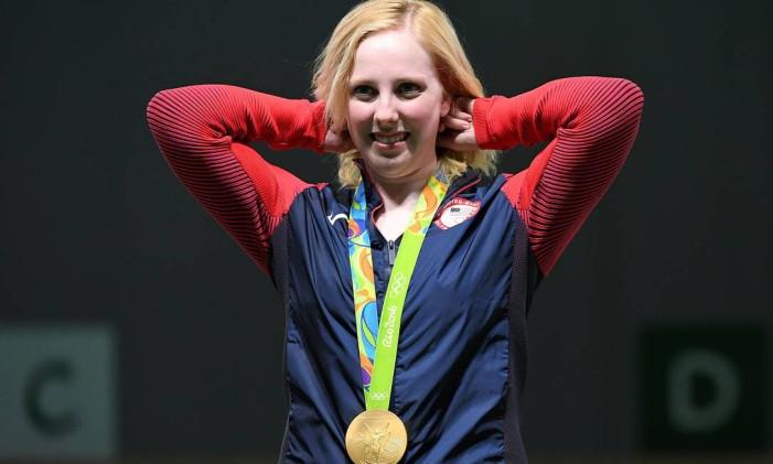 Virginia Thrasher. Americana de 19 anos ganhou primeiro ouro da Olimpíada do Rio Foto: PASCAL GUYOT / AFP