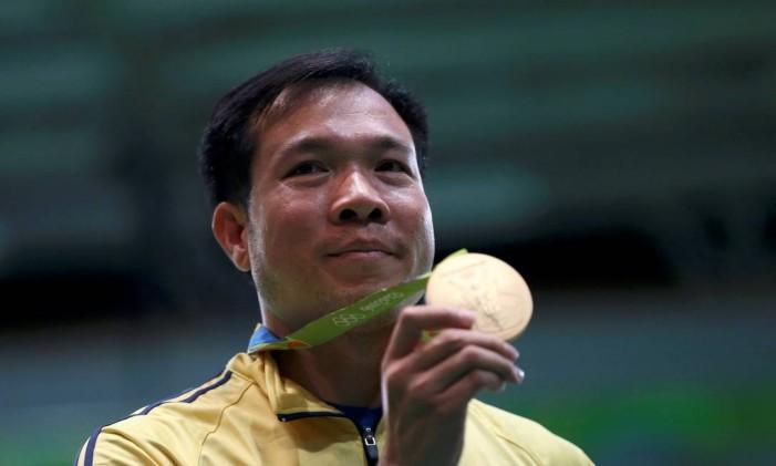 Hoàng Xuân Vinh. Atleta do Vietnã superou brasileiro Felipe Wu e ficou com o ouro Foto: EDGARD GARRIDO / REUTERS