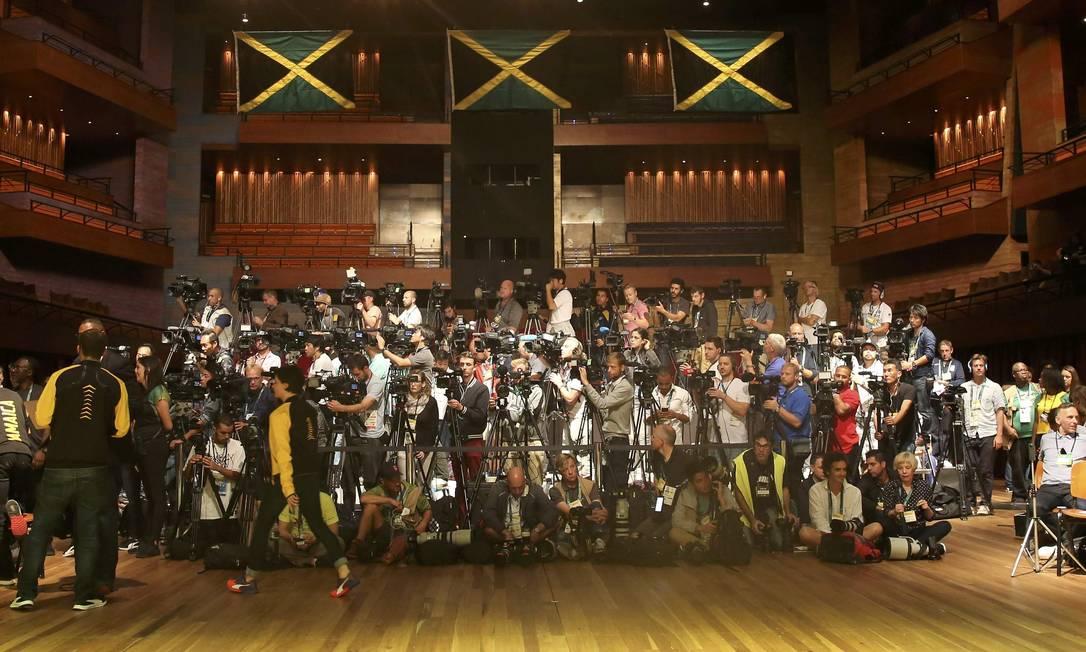 A equipe da Jamaica participou de entrevista coletiva na Barra, nesta segunda-feira NACHO DOCE / REUTERS