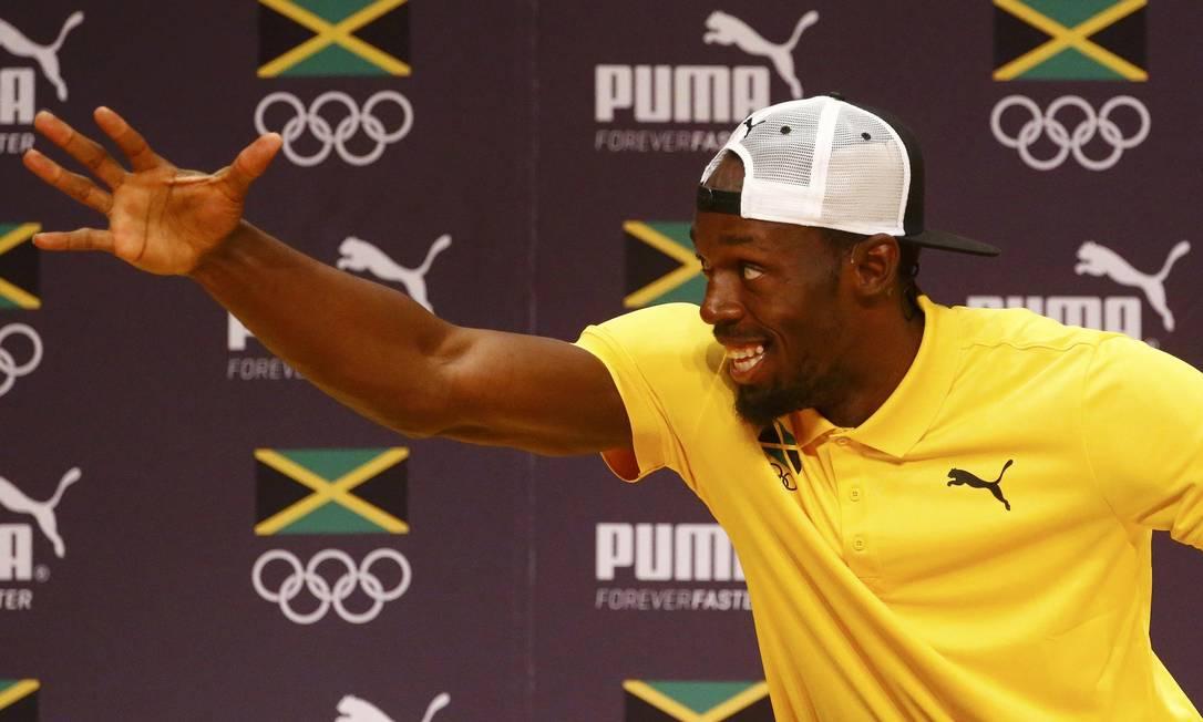Usain Bolt brincou durante a entrevista coletiva NACHO DOCE / REUTERS