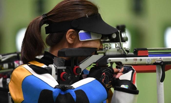 Li Du. Novo recorde olímpico no tiro esportivo Foto: PASCAL GUYOT / AFP