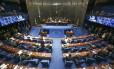 Sessão no Senado para análise e votação do relatório favorável ap julgamento de Dilma