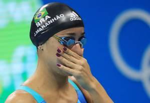 Joanna Maranhão desabafou após ser eliminada dos 200m borboleta. Ela disse que vai processar todos os que a xingaram Foto: DOMINIC EBENBICHLER / REUTERS