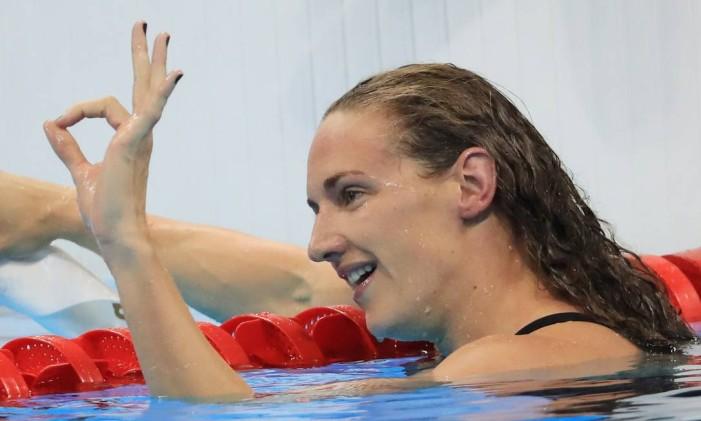 A húngara Katinka Hosszú ganha a medalha de ouro nos 200m medley Foto: DOMINIC EBENBICHLER / REUTERS