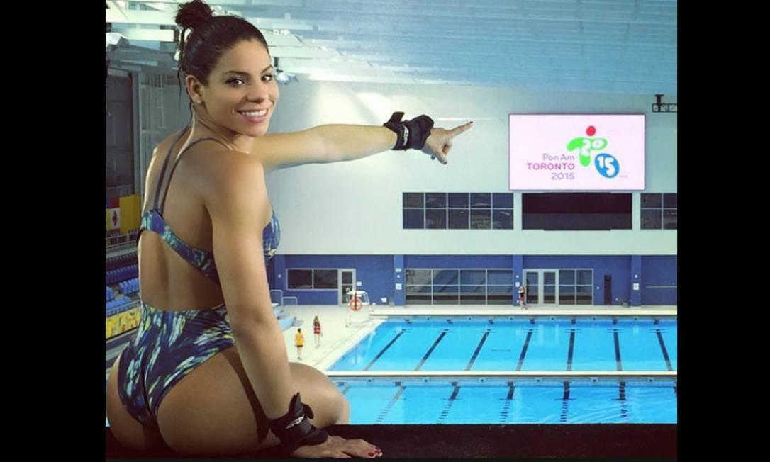 Foi no Pan que Ingrid Oliveira passou a chamar atenção por sua beleza, depois de publicar essa foto de seu primeiro treino Foto: Agência O Globo