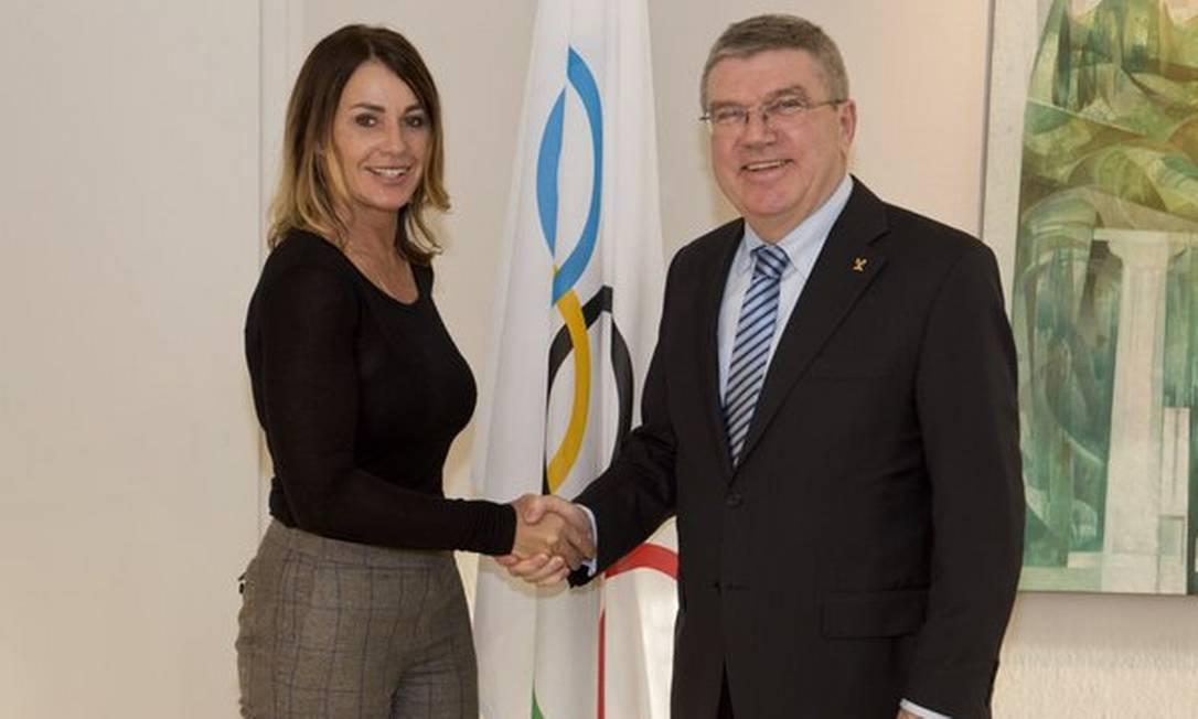 Com o presidente do Comitê Olímpico Internacional, Thomas Bach Reprodução/Facebook