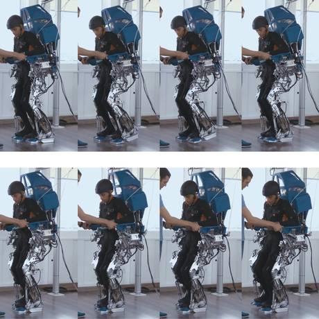 Paciente usando o exoesqueleto Foto: Divulgação