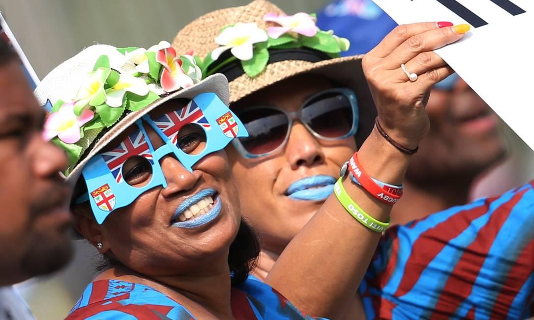 Torcedores da Inglaterra durante jogo de Rugby, em Deodoro ALESSANDRO BIANCHI / REUTERS