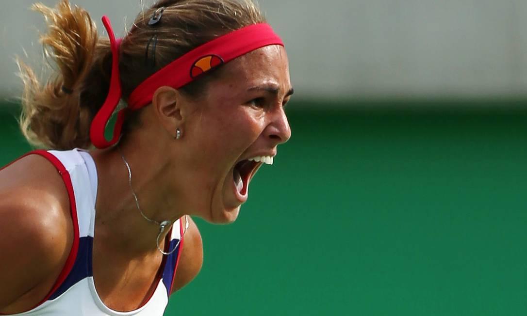 Monica Puig vibra com a vitória na semifinal e a vaga garantida na final KEVIN LAMARQUE / REUTERS