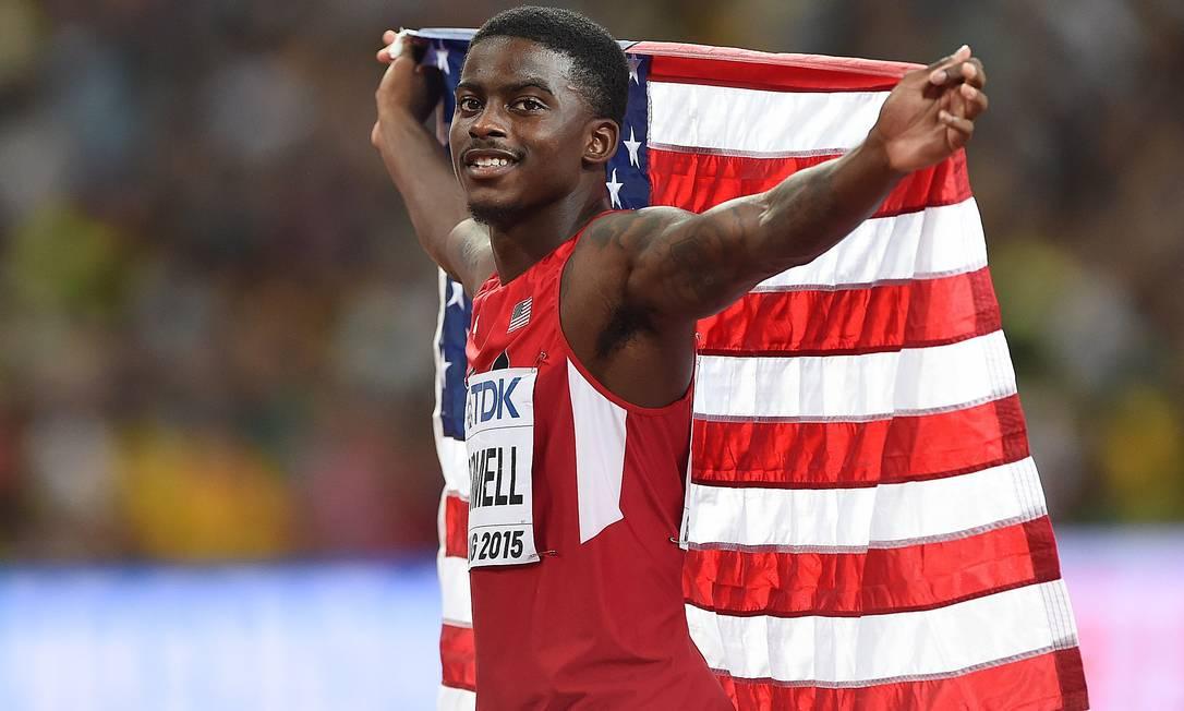 Aos 21 anos, americano Trayvon Bromell participa de sua primeira Olimpíada nos jogos do Rio JOHANNES EISELE / AFP