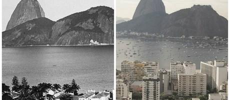 Em 1890, Marc Ferrez fez uma panorâmica da Enseada de Botafogo. Ao Lado, a foto de Márica Foletto Foto: Fotomontagem