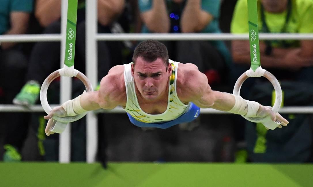 O brasileiro Arthur Zanetti compete na final das argolas. Ele conquistou a medalha de prata, com nota 15,766 André Durão / Globoesporte.com/NOPP
