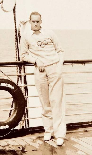 João Havelange no navio, a caminho de uma das suas Olimpíadas Agência O Globo