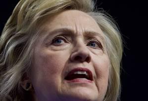 Hillary Clinton fala em evento de campanha na Pensilvânia Foto: Mark Makela / Mark Makela/AFP