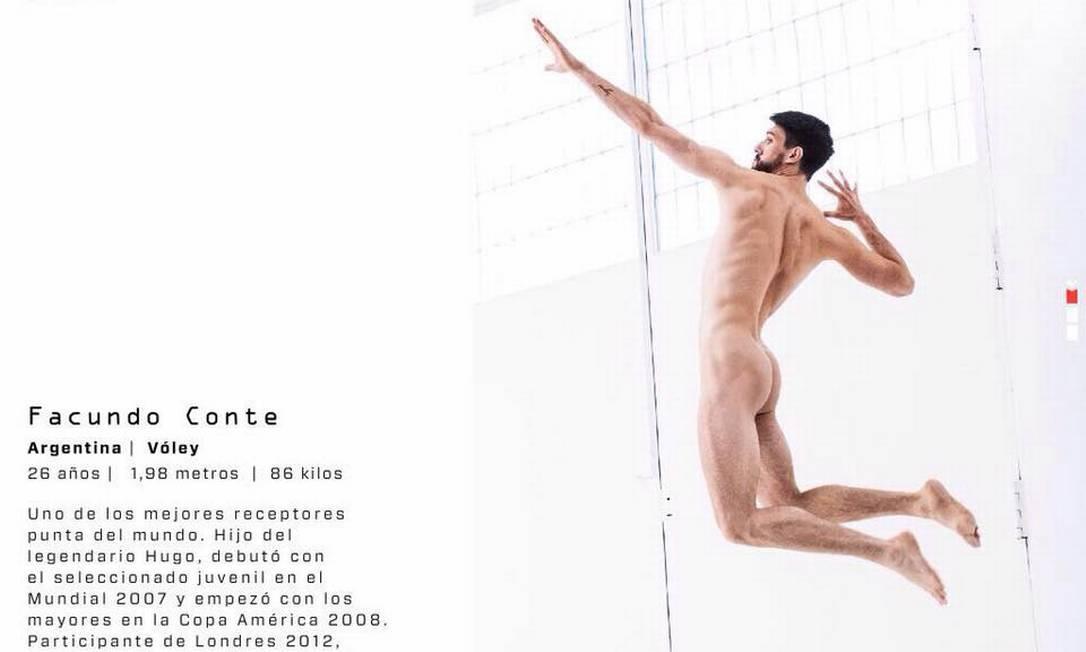 Facundo Conte, da seleção de vôlei argentina, na edição de julho da Body Issue da revista ESPN na América Latina Reprodução/Facebook