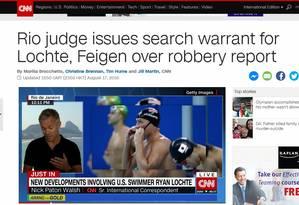 CNN destaca decisão judicial contra nadadores americanos Foto: Internet / Reprodução