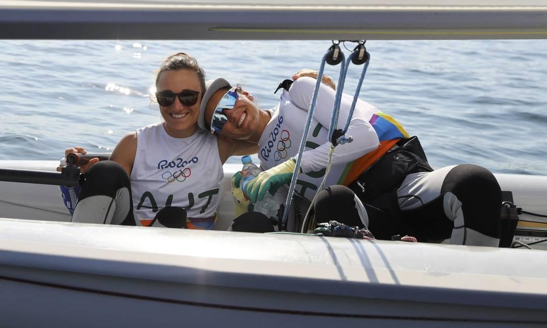 A dupla estava tão descontraída que pousou para foto BENOIT TESSIER / REUTERS