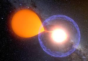 """Ilustração de uma explosão """"nova clássica"""", em que uma estrela anã branca rouba material de uma companheira de baixa massa em um sistema binário até o ponto que este material se """"incendeia"""" em uma reação termonuclear Foto: K. Ulaczyk/Observatório da Universidade de Varsóvia"""