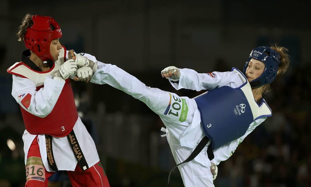 Na luta entra Naima Bakkal, do Marrocos e Jade Jones, da Grã Bretanha, melhor para britânica ISSEI KATO / REUTERS
